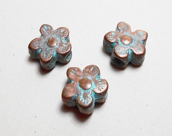 3 Patina Daisy Beads, Flower Beads with Patina, Patina Flower Beads, Blue Flower Beads, Daisy Beads, Flower Beads, Patina Beads PB0005