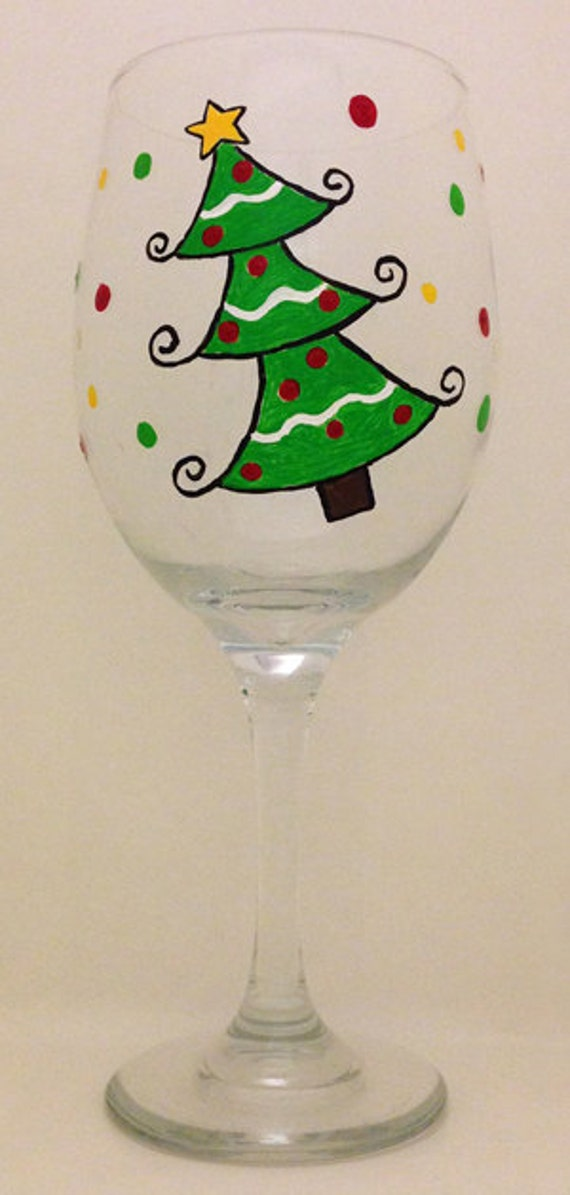 Unavailable listing on etsy for Hand painted wine glass christmas designs
