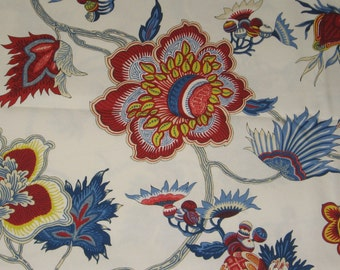 Red. Blue. White. Large Floral Accent. Pillow Covers. Fabric from NYC. Decorator Pillow. Modern Look. Handmade. Cording with zipper closure
