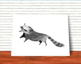 Raccoon, Printable Art, Wall art, Illustration, Nursery Art, Woodland