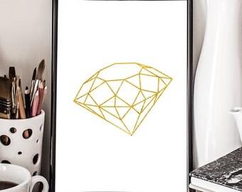Diamond, Gemstone, Printable Art, Minimalistic, Gem, Facet, Wall decor, Illustration