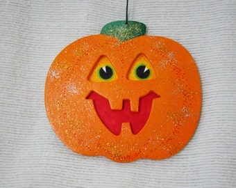Happy Halloween Pumpkin Ornament - Hand Drawn and Painted - One of a Kind