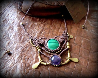 tribal necklace with Malachite and Amethyst!