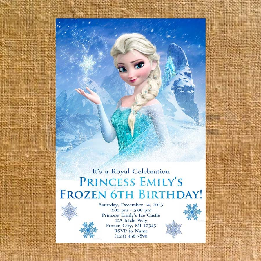 Customized Frozen Birthday Party Invite Digital File