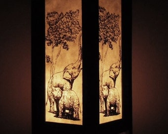 Thai Handmade Asian Oriental Family Elephant Paper Lamp Bedside Table Light Home Decor Bedroom Decoration Modern Thailand