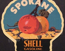 Shell Gasoline 1920s Travel Decal Magnet for SPOKANE (WA). Accurately Reproduced & hand cut in shape as designed. Nice Travel Decal Art