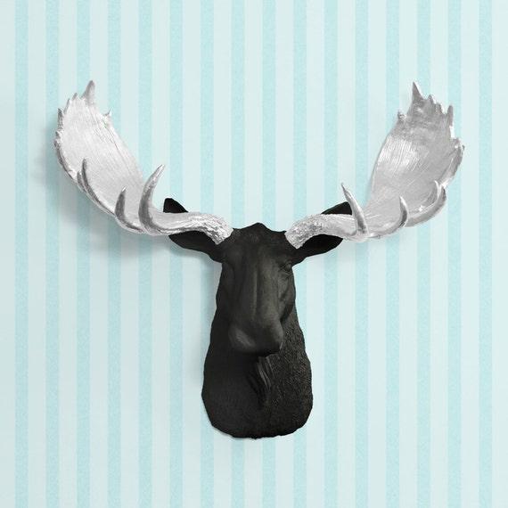 die alberta in schwarz silber geweih faux elch kopf fake. Black Bedroom Furniture Sets. Home Design Ideas