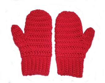 Chunky Crochet Mittens - Crochet Mittens - Wool Mittens - Acrylic Crochet Mittens - Adult Mittens - Red Mittens