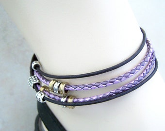 Double Wrap, Leather Anklet, Purple and Black, Ankle Bracelet, 6-12 inch sizes, Leather Bracelet, Petite to Plus Size Women