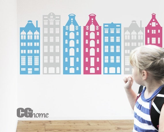 AMSTERDAM houses wall decal PASTEL colors vinyl sticker architecture CGhome