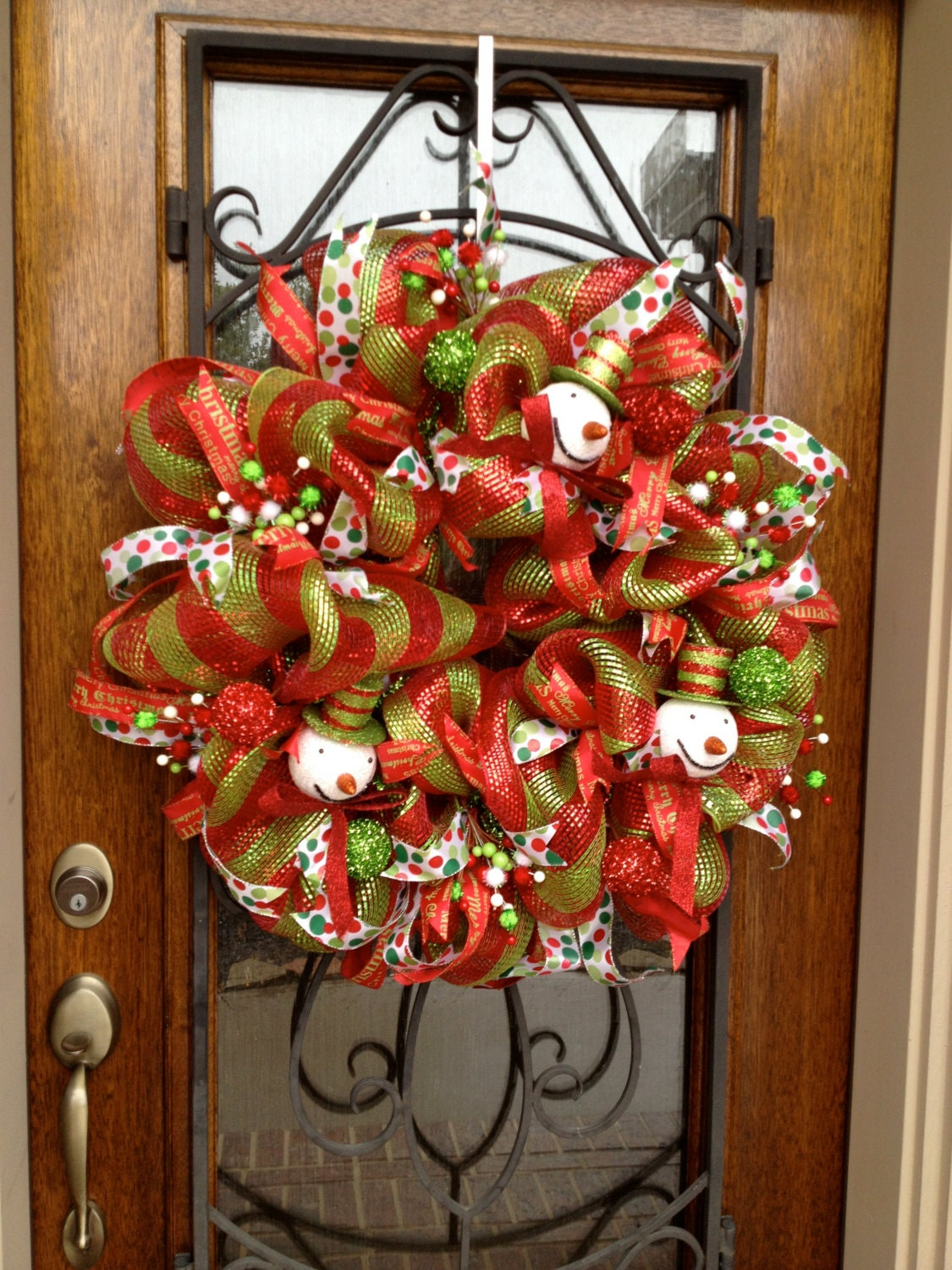 Winter Wreath Red and Green deco mesh wreath Christmas