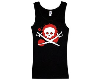 Ladies Tank Top - Splat Skull and Swords