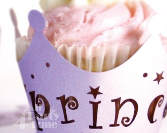 Princess Crown Silhouette Cupcake Wrapper 10pcs, Pink, Girls Birthday / Celebration Party Cupcake Wrappers, Girl Baby Shower Cup cake Decor