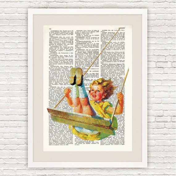 Dictionary Art Printed On VintageDictionary Page. Girl swinging  #008