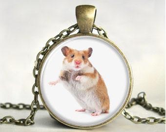Hamster Necklace,Art Pendant,Hamster  Pendant,  Jewelry, Hamster  Jewelry, Gift, Print ,Glass
