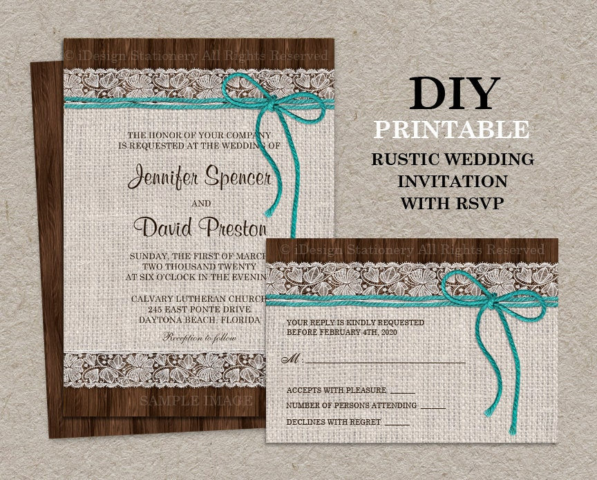 Printable rustic wedding invitation with rsvp card burlap for Etsy engagement party invites