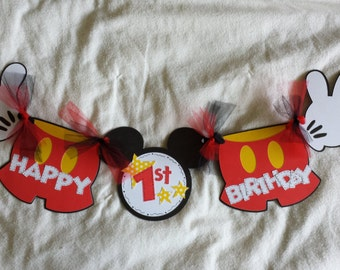 Mickey Mouse Birthday Highchair Banner