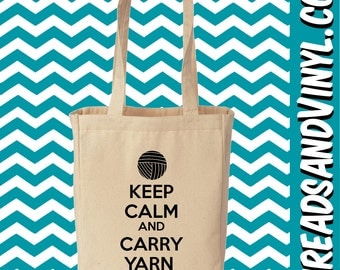 Keep Calm And Carry Yarn Canvas Totes Bags Purses Collection