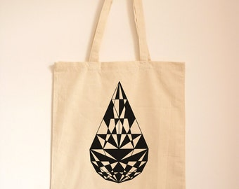 Canvas Bag/ Tote Bag/ Geometric Print/ Shopping Bag/ Textile Print/ Cotton Bag/ Day Bag/ Eco Friendly/ Teardrop Diamond Design