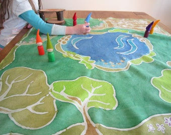Little Homestead, Painted Silk Play Mat, Waldorf inspired, gnome play, handmade silk toy, farm and forest toy for kids, travel toy, Playsilk