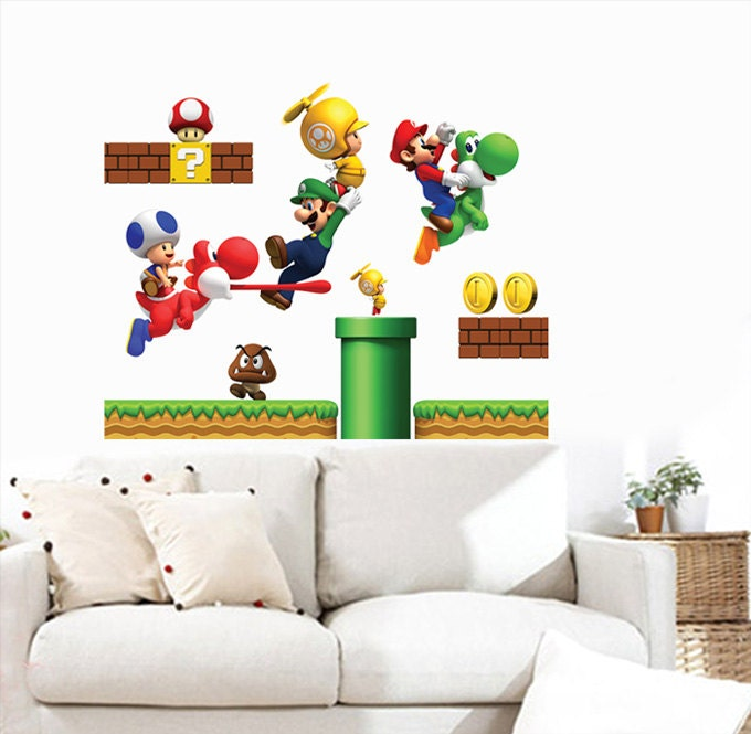 Big Super Mario Bros Wall Decals Bedroom Stickers By