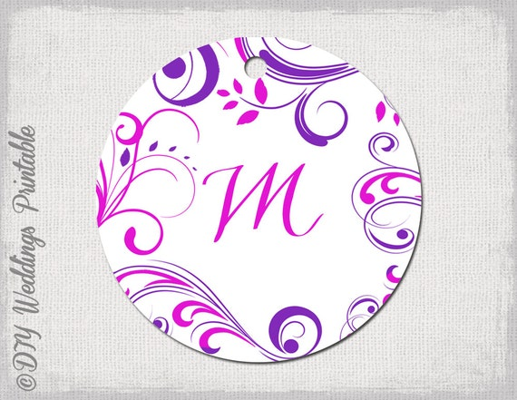 Wedding Favor Tags Template Pink & Purple Monogram