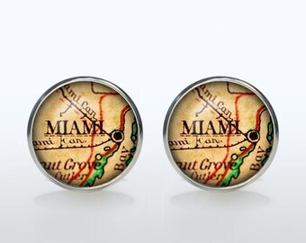 Miami map Cufflinks Silver plated Miami vintage map Cuff links men and women Accessories Antique black brown red green