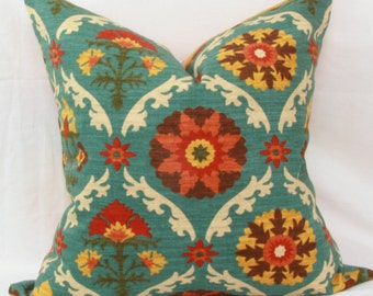 "Teal, orange, yellow & red floral decorative throw pillow cover. 18"" x 18"". 20"" x 20"". 22"" x 22"". 24"" x 24"". 26"" x 26""."
