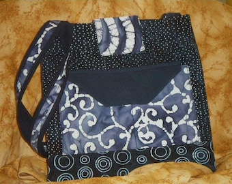 "Blue cotton batik purse by Linda.  Many inside & outside pockets. 10"" h x 10"" w x 4"" d  Lpci-10"
