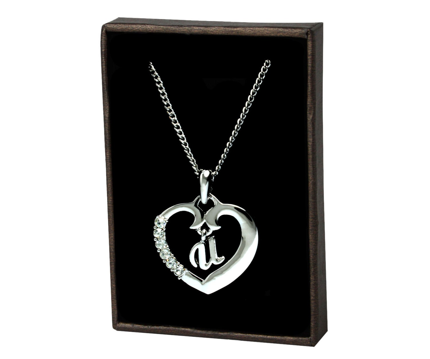 gold heart initial necklace u white gold initial. Black Bedroom Furniture Sets. Home Design Ideas