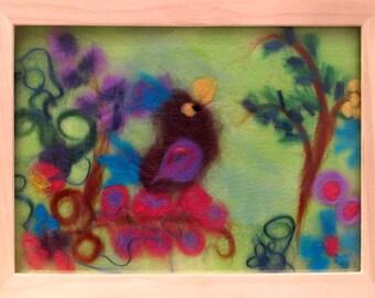bird - wool collage, wool picture, art work, room decor, kids