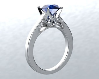 Sapphire Engagement Ring  Blue VVS Sapphire and Natural Fsi1 Diamonds 14kt White Gold Engagement Ring Anniversary Ring
