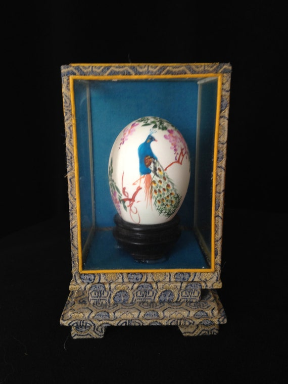Nib Vintage Japanese Hand Painted Peacock Amp Flowers Egg In A
