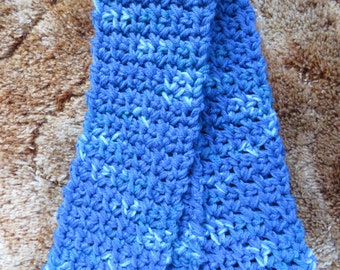 Handmade crocheted scarf - blue