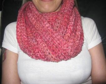 Soft chunky handmade crochet infinity scarf cowl scarf neckwarmer chunky pink scarf