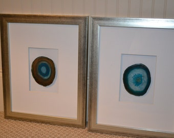 set of 4 teal framed agate slices