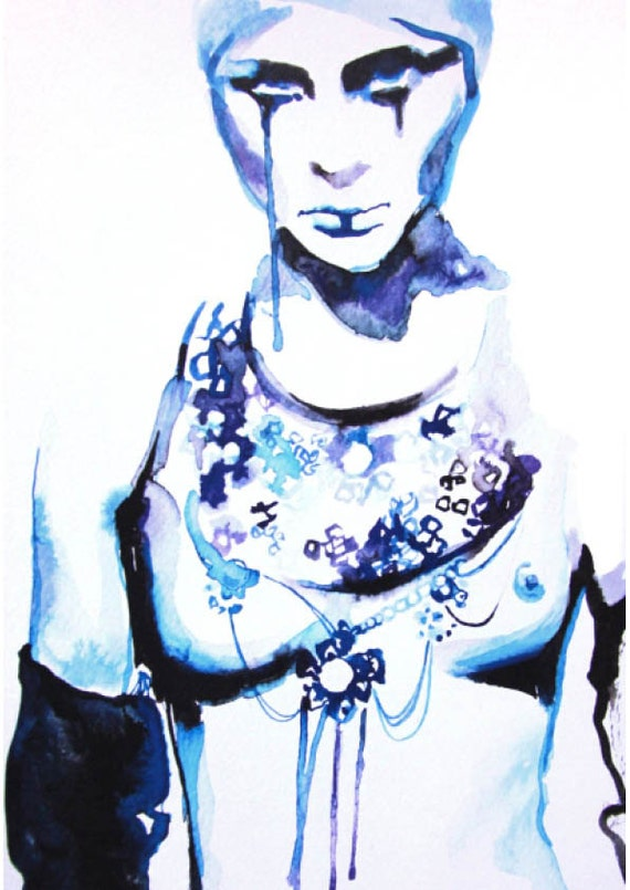 Print of watercolor fashion art illustration blue
