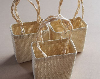 Mini Tote Burlap Favor Bags Woven Straw, 12-Piece