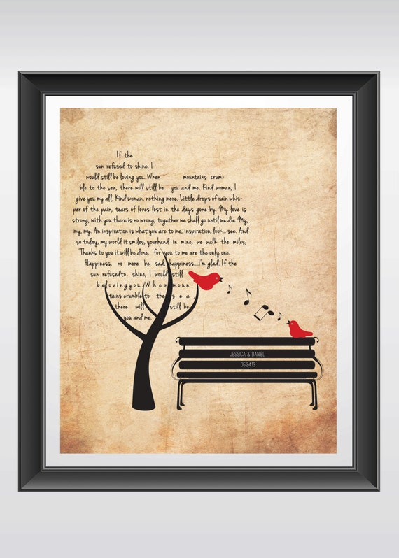 Personalized Wedding Gift Wedding Song Gift Anniversary