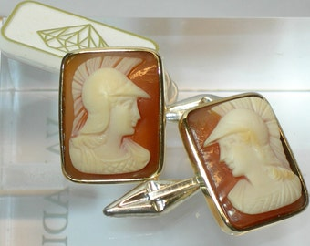 "Cufflinks for men with cameos ""Guerriero"""