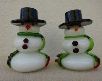 Vintage Glass Snowmen