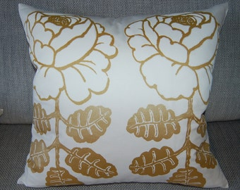 White Gold Maalaisruusu pillow case, thick SATIN fabric, Finland, 18x18""