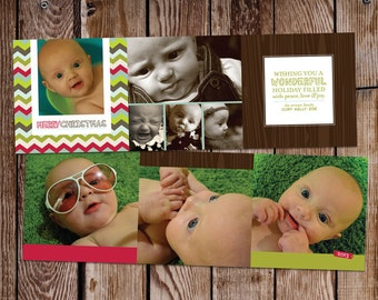 Personalized photo tri-fold holiday card //  5.25x5.25