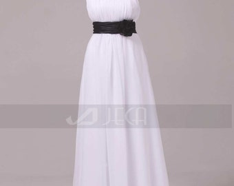 Grecian Style Black & White Wedding Gown Maternity Wedding Dress For An Outdoor Wedding W864