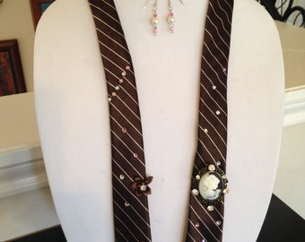 vintage tie necklace and earrings