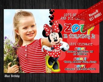 Minnie Invitation for Minnie Birthday - DIGITAL Minnie birthday invitation with photo (red yellow black)