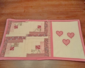 Pink Three Hearts Log Cabin Mug Rug - Snack Mat - Candle Mat