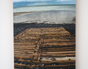 Photograph of Sheringham boat slipway - Norfolk, UK - mounted on A4 wood block - ready to hang