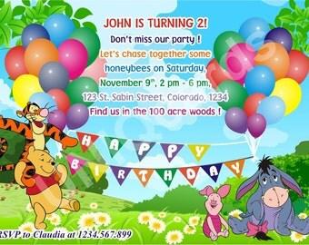 Winnie invitation, Winnie the Pooh birthday invitation, Pooh Bear invitation