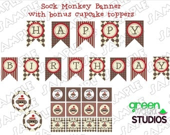 Sock Monkey banner with bonus cupcake toppers INSTANT DOWNLOAD UPrint customized card by greenmelonstudios